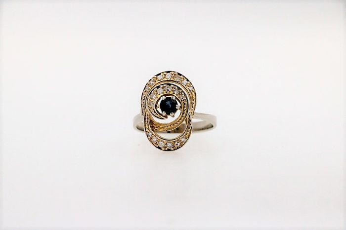14 kt Gold - Ring Diamant - Saphir