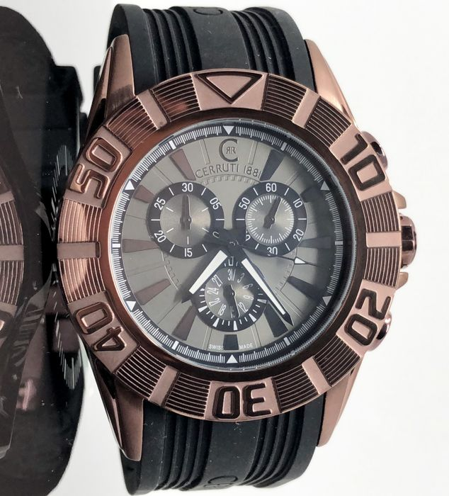 Cerruti 1881 - Chronograph Maroon Black Silicon Swiss Made  - CRWA042M233Q - Men - 2011-present