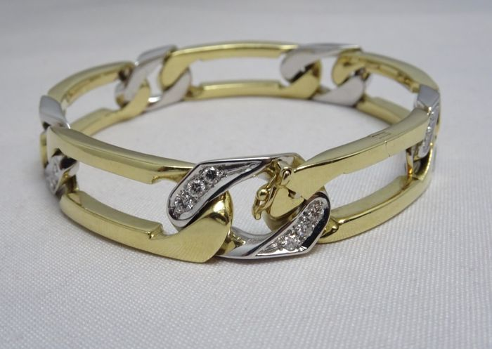 Gold bracelet (18 kt) with diamonds, 1.05 ct, Top Wesselton, weight: 52.50 g