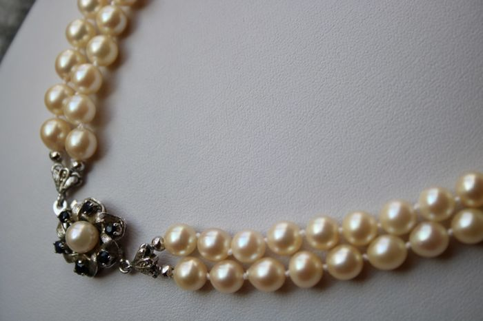 2 strand with Japanese Akoya , Necklace - Silver - genuine sea/salty  Pearls Ø 6,4 - 6.8 mm  and  0.36 Ct Sapphires