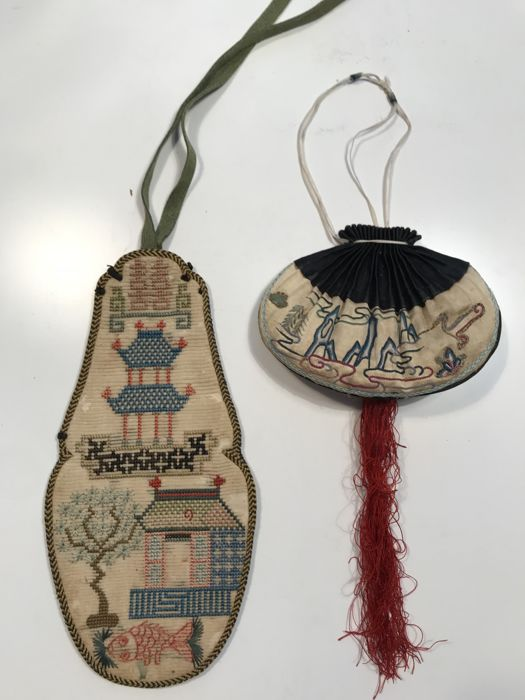 Embroidered Silk Purse and a Snuff Bottle Pouch - China - 19th Century/early 20th Century