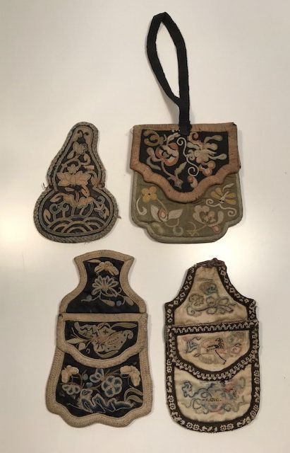 3 Embroidered Silk Purses and a Tobacco Pouch - China - 19th Century/early 20th Century