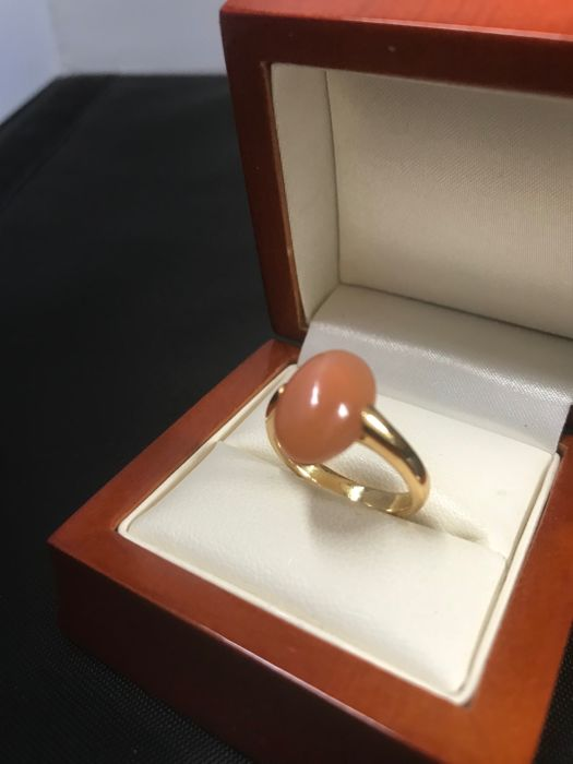 Yellow gold 18 kt (750/000) women's ring with rose quartz - ring size 17 1/4 (54)