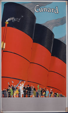 Cunard Line Ocean Liner Funnels - printed in England - Original lithograph poster, C.1930