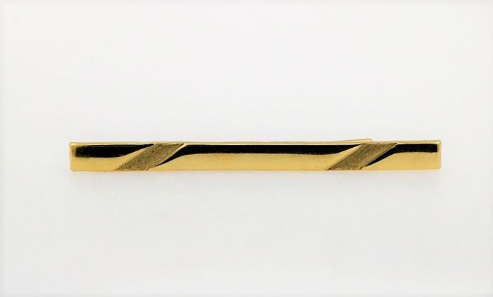 No reserve price!!! 8 kt yellow gold vintage tie clip - size: 4.6 x 60 mm