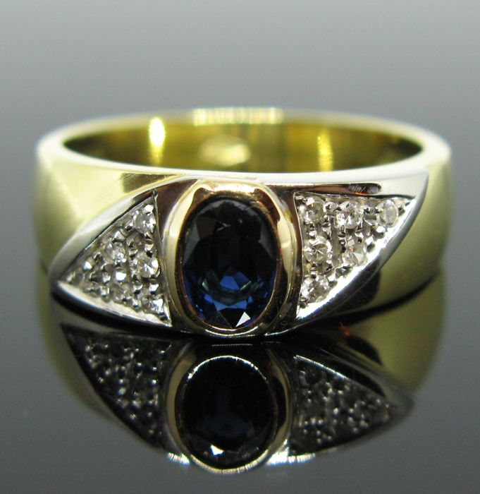 Ring - Gold, White gold - Natural (untreated) - 0.70 ct - Sapphire and Diamond