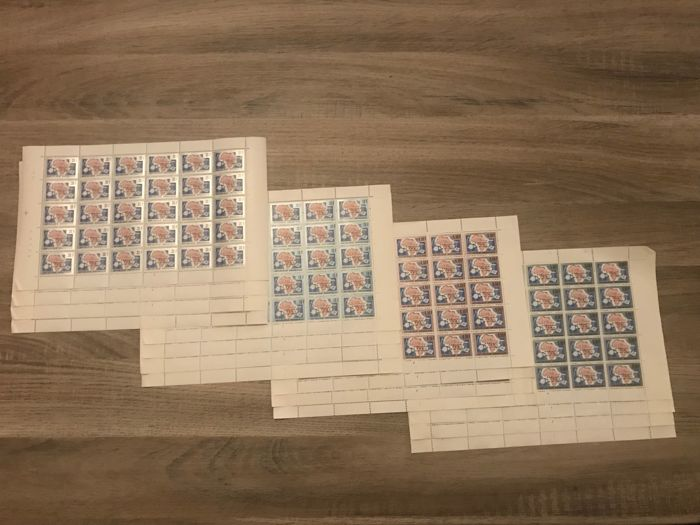 Ruanda 1963 - UN - full range in sheets with plate numbers - OBP / COB 9-12