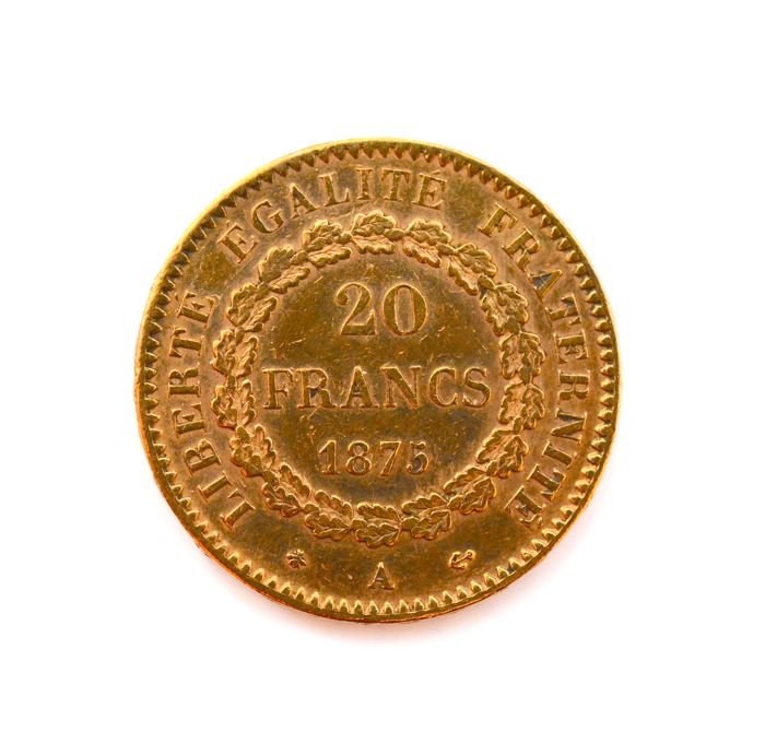France - 20 Francs 1875-A Genius - Or