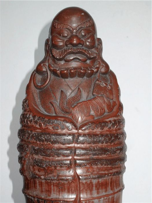 A bamboo carving of Bodhidharma - China - second half 20th century