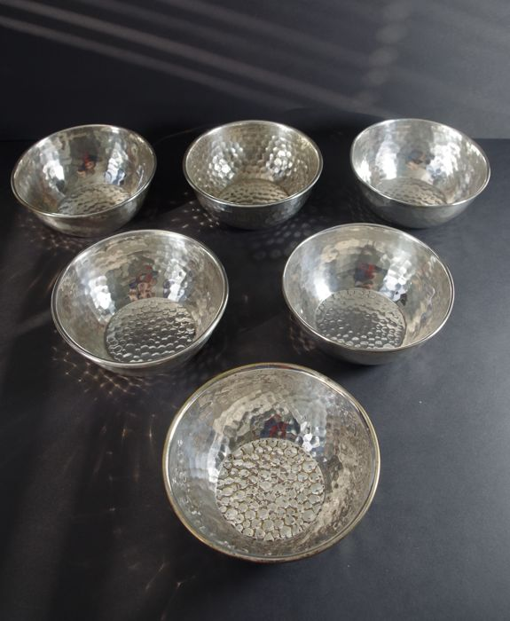 Kallmeyer & Harjes - 6 Art Deco 1920's bowls  - Silver plated - Germany - 1920-1930
