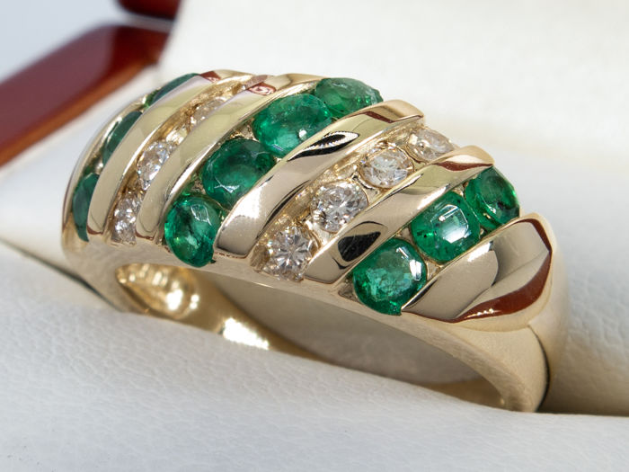 1.24Ct - Diamond & emerald ring  - 14K gold - No Reserve price