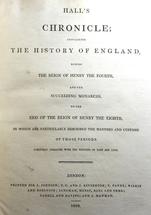 Edward Hall - Hall's chronicle, containing the history of England - 1809