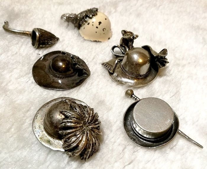 Collection of Miniature Hats (6) - Silver - Italy - Second half 20th century