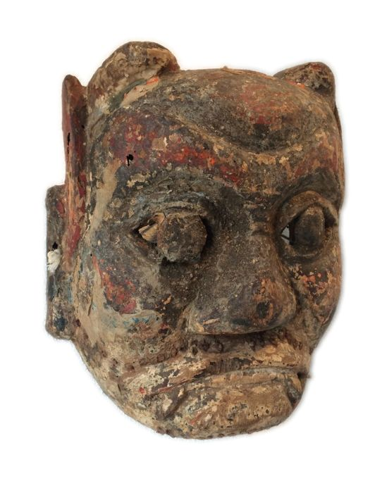 Polychrome wooden mask - China - 18th. century