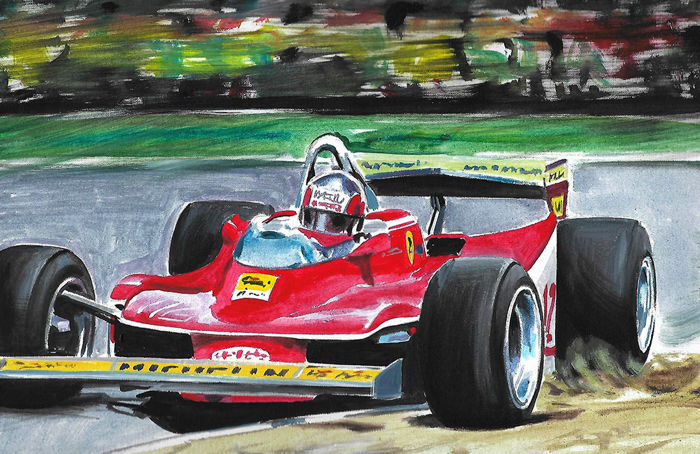 ORIGINAL Painting - Gilles Villeneuve Ferrari 312 T4 1979 - 2018 (1 items)