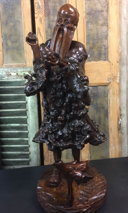 Large root-wood statue of Chinese immortal Shou Lao (75 cm) - circa 1880