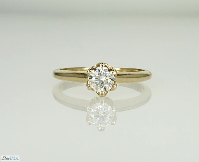 Lilo Diamonds - AIG Certificate - 14 kt. Gold - Ring 0.50 ct F/SI1 - Diamond