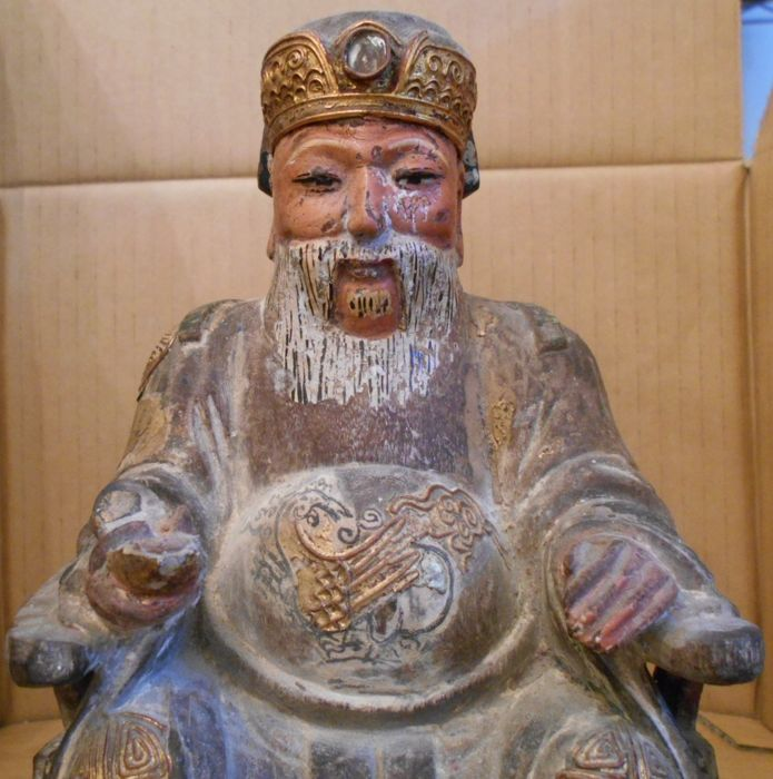Wooden Earth God (Tu Di Gong ) - China - late 19th/early 20th century