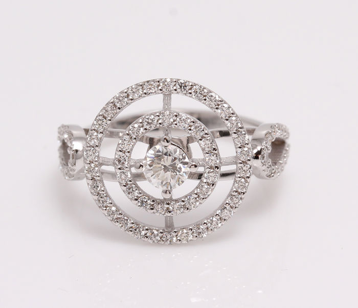 Double Halo Model - Ring - White gold - Natural (untreated)