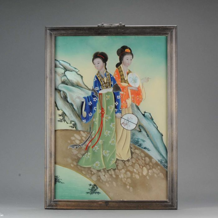 A Chinese reverse Glass Painting Ladies in a Garden - China - late 20th century