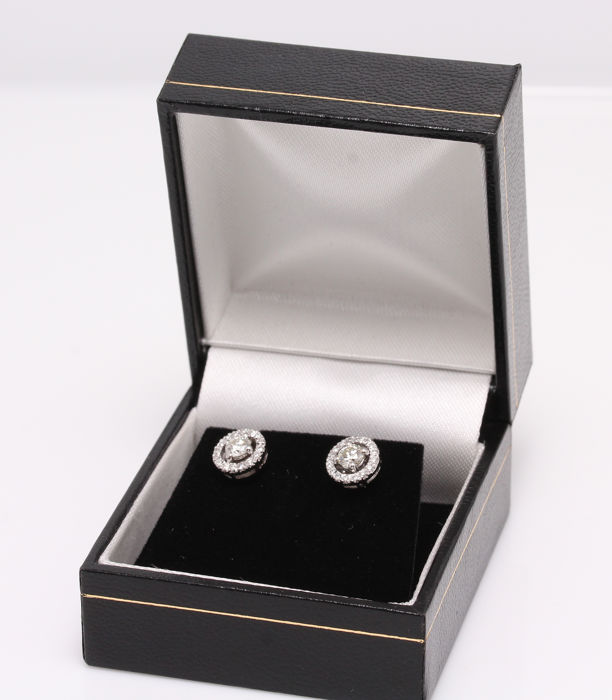Earrings - White gold - Natural (untreated) - Diamond and Diamond