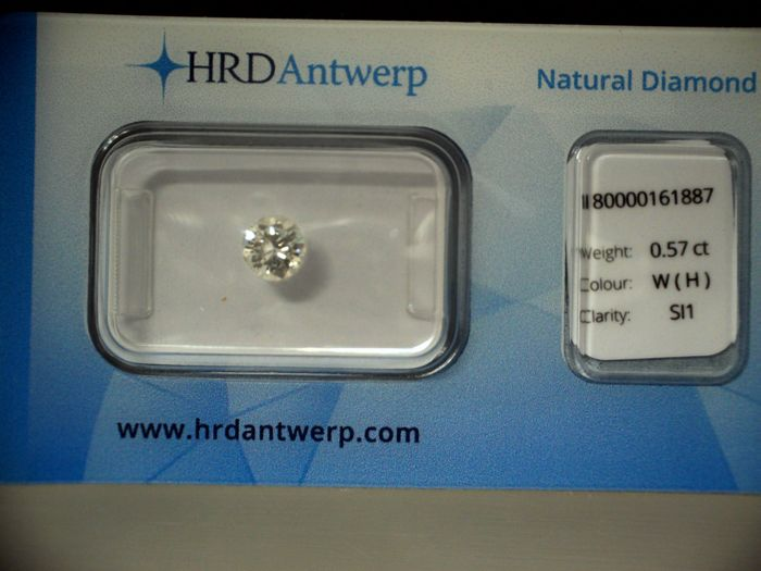 Natural White Diamond, H, SI1, 0.57ct, HRD sealed, Laser Inscription.