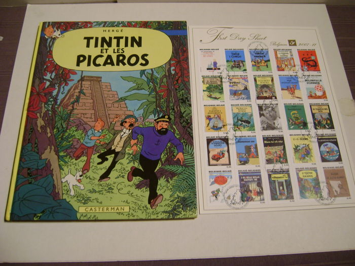 Tintin T23 - Tintin et les Picaros EO + First Day Sheet 25 timbres - Hardcover - First edition - (1976/2007)