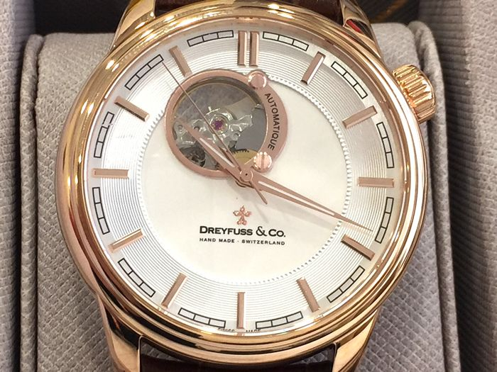 Dreyfuss & Co. - Automatic Swiss Made - Case IP Gold 18K - Real Leather Strap  - DGS001163/02 - Nuovo - Garanzia - Men - 2011-present
