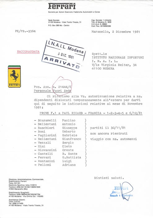 Official Ferrari signed Letter 1981 - Ferrari F1 contents factory signed letter - 1981 (2 items)