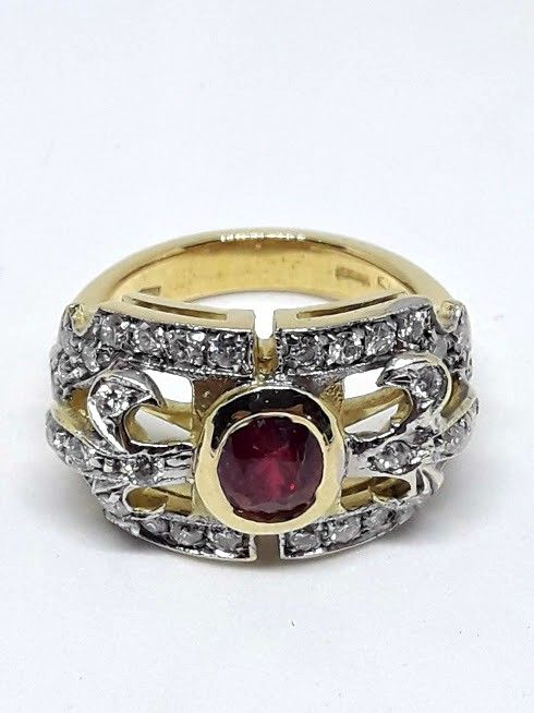 Ring - Gold, White gold - 0.5 ct - Ruby and Diamond