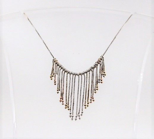 No reserve price!!! 925 silver vintage necklace partially gold-plated - length: 40 cm