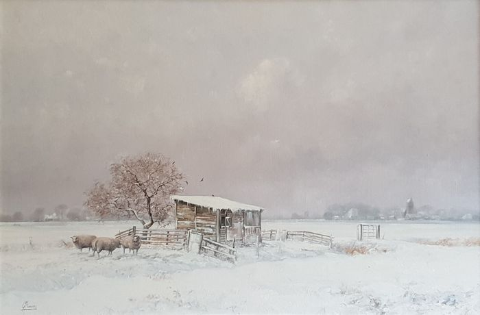 Gert-Jan Veenstra (born in Workum 1957) - Winterlandschaft