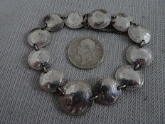 Bracelet with 12 coins and silver half guilder - 2 - silver