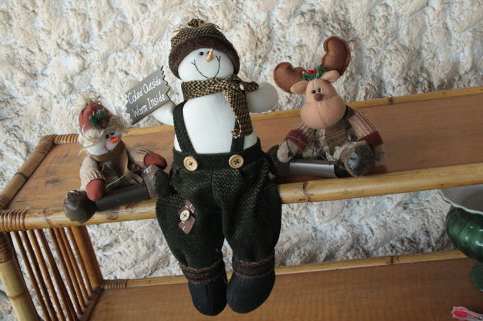 collection of rural Christmas with big snowman - felt - leather - velvet