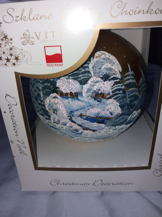 Large glass Christmas Ball 15 cm - Hand painted with glitter of 1 - Glass (stained glass)