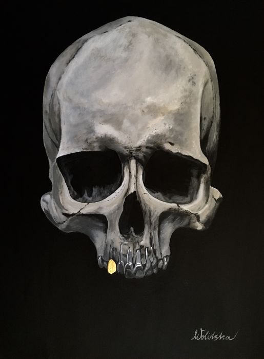 K. Wolinska - Skull with gold tooth
