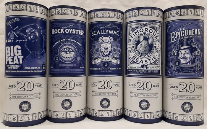 Big Peat, Rock Oyster, Scallyway, Timorous Beastie & The Epicurean - All 20 years old - 100th Anniversary of De Monnik (NL) - full set of 5 - Douglas Laing - 700ml - 5 bottles