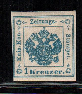 Oostenrijk 1853 - Coat of arms. Postage due for newspapers 1 Kr. II type - Unificato N. 1a