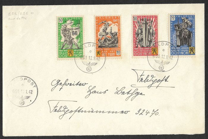 German Empire 1942 - Letter with private issue Flemish Legion - Michel I bis IV
