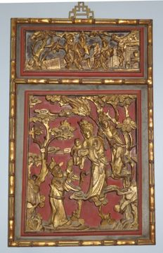 Large 49cmH gold gilt wood carving panels in gold gilt bamboo design frame - China - 19th century