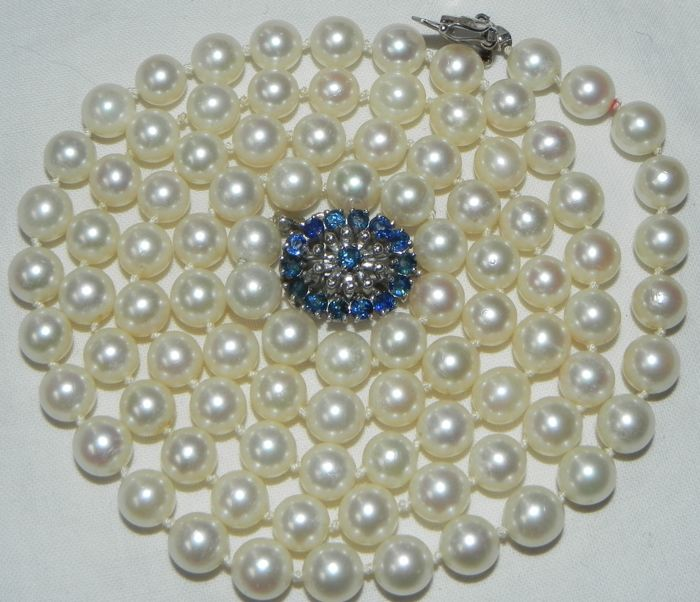 18 kt. White gold - 7.3 mm Akoya Pearls - Necklace, Pearl necklace with sapphires 750 gold 83cm Sapphire