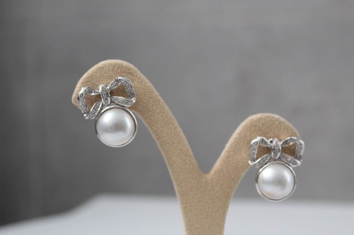 18 quilates 13 mm, Perlas Mabe - Pendientes Pearl Mabe - Diamante