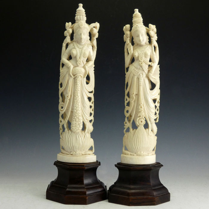 7cd91cf55 Pair of ivory carvings of Lakshmi (25 and 26 cm) - India - early ...