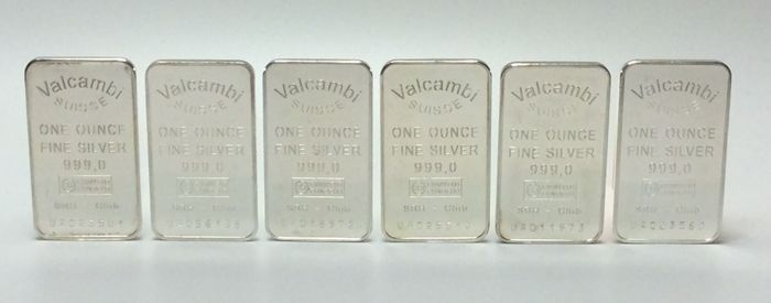 Valcambi Suisse - 6 x one ounce - 999/1000 - Minted silver bars