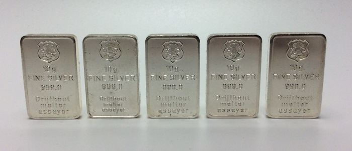 H. Drijfhout & Z.n. - 5 x 10 grams - 999/1000 - Minted silver bars