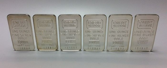 Credit Suisse - 6 x one ounce - 999/1000 - Minted silver bars