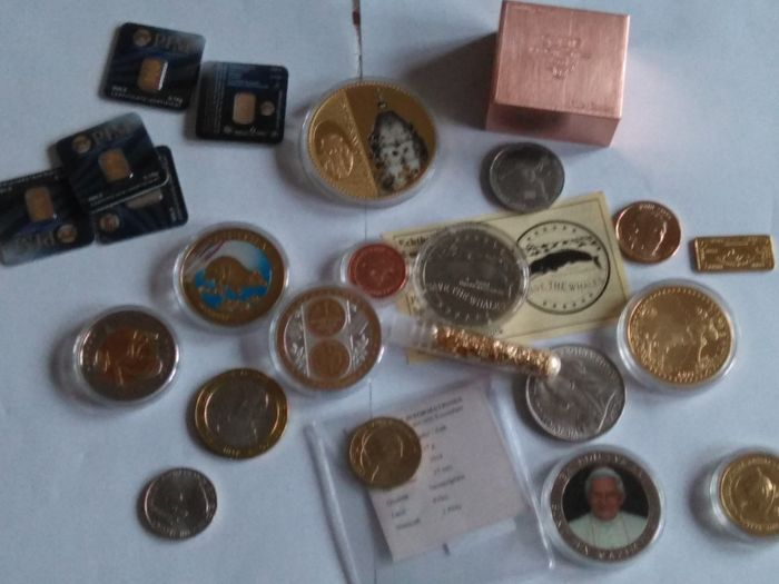 5 x 0,1 grams  gold certified 999/1000  +   500 grams copper Switzerland +  a lot of coin and bullion  gold plated