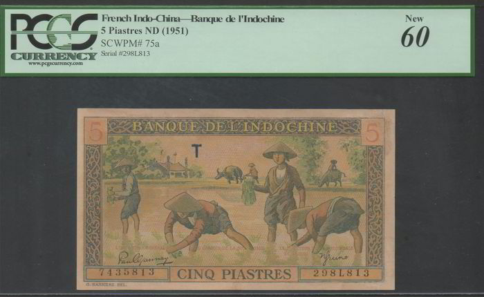 Frans Indo-China - 5 piastres ND (1951) - Pick 75a - PCGS 60 NEW