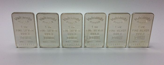 6 x 1 troy ounce (31.1 g ) - Zilver .999 - Valcambi