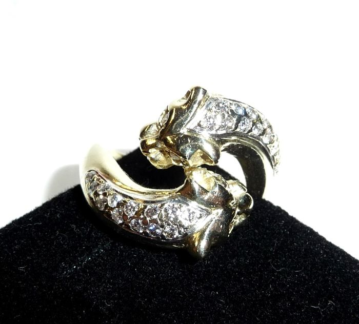 Zwei Panther  - Ring - Gold - Natural (untreated) - 0.6 ct - Diamond